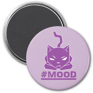 Imã Ilustração roxa do logotipo do gato do #MOOD