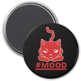 Imã Ilustração vermelha do logotipo do gato do #MOOD