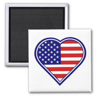 Imã Ímã 2 da bandeira americana da forma do coração
