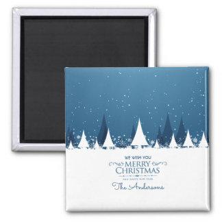 Imã Ímã azul personalizado do Feliz Natal |