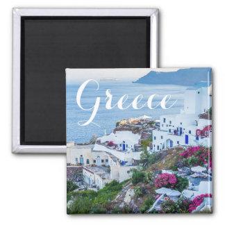 Imã Ímã bonito da costa da ilha de Oia Santorini da