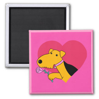 Imã Ímã cor-de-rosa dos namorados de w do cão de