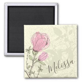 Imã Ímã cor-de-rosa personalizado da flor | da