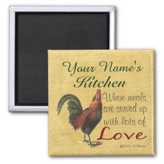 Imã Ímã da cozinha do galo personalizado com seu nome