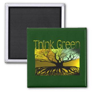 Imã Ímã de Hugger da árvore das raizes do pense verde