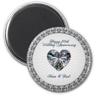 Imã Ímã do aniversário de casamento do coração 60th do