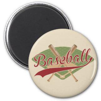 Imã Ímã do basebol com bastões e campo cruzados