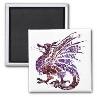Imã Ímã do dragão da Multi-Cor quadrado de 2 polegadas