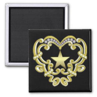 Imã Ímã do quadrado da estrela do coração do ouro