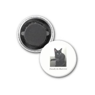 Imã Ímã do refrigerador do gato preto - redondo