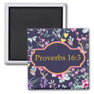 Imã Ímã floral do verso da bíblia do 16:3 dos