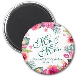 Imã Ímã floral tropical personalizado do casamento |