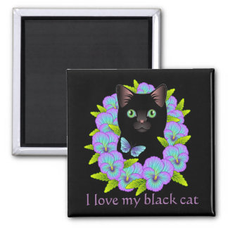 Imã Ímã mágico da boa sorte de gato preto - bonito &