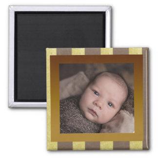 Imã Ímã novo da foto do bebê de Brown & de ouro