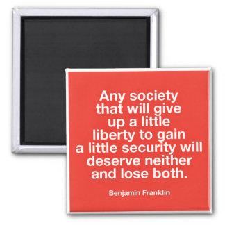 Imã Ímã patriótico das citações de Benjamin Franklin