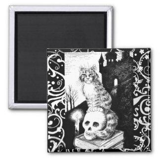 Imã Ímã preto & branco do crânio do gatinho do Dia das