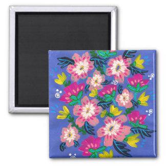 Imã Ímã quadrado das flores cor-de-rosa