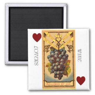 Imã Ímã quadrado dos amantes de vinho
