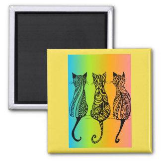 Imã Ímã quadrado dos gatos do arco-íris