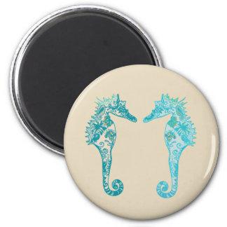 Imã Ímã redondo da arte da mandala do cavalo marinho