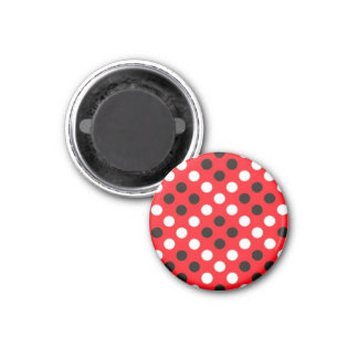 Imã Ímã redondo vermelho das bolinhas pretas & brancas