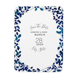 Ímã Imã salve a data botânica azul do casamento