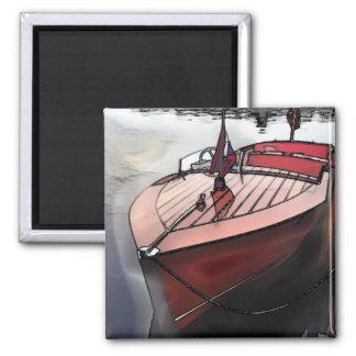 Imã Impressão de mogno clássico do barco no ímã