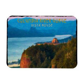 Ímã Impressão retro do desfiladeiro do Rio Columbia e