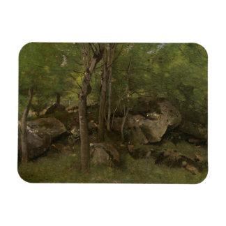 Ímã Jean-Baptiste-Camilo Corot - rochas na floresta