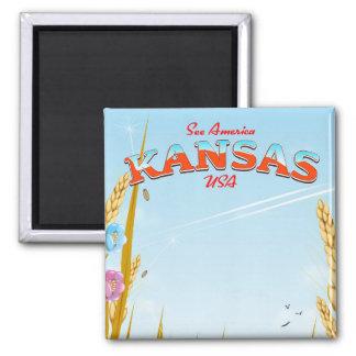 Imã Kansas EUA cultiva o poster de viagens retro