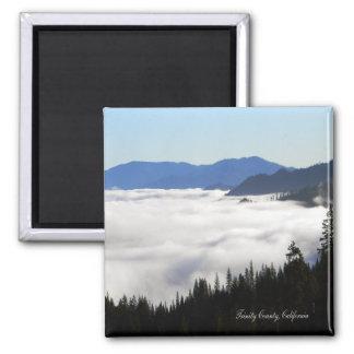 Imã Lago da névoa através das árvores…