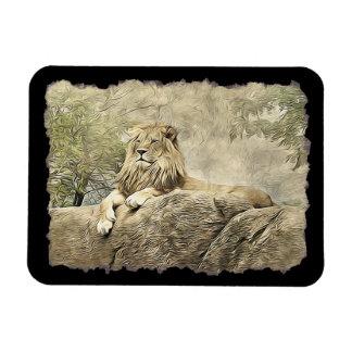 Ímã Leão majestoso que senta-se em um penhasco Mamet