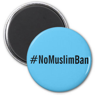 Imã letras #NoMuslimBan, pretas no ímã dos azul-céu