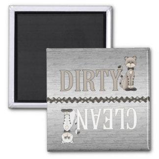 Ímã Limpo-Sujo da máquina de lavar louça do gato Ímã Quadrado