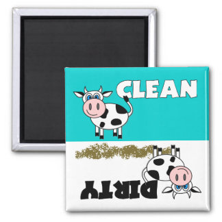 Ímã limpo/sujo da vaca feliz da máquina de lavar l ímã quadrado