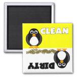 Ímã limpo/sujo do pinguim bonito da máquina de lav ima de geladeira