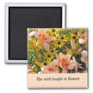 Imã Lírios de dia coloridos pêssego e flores amarelas