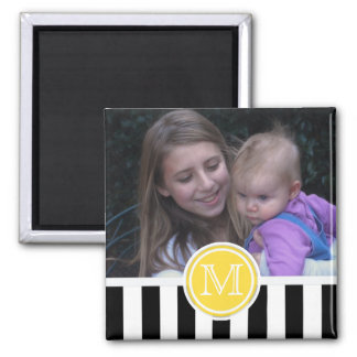 Imã Listra preta & branca: Ímã da foto do monograma