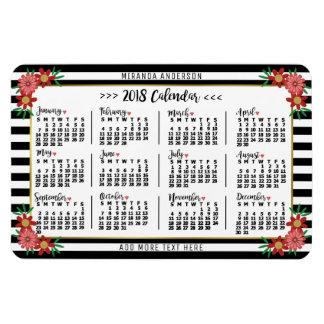 Ímã Listras florais do calendário mensal de 2018 anos