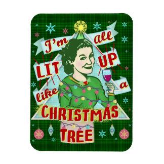 Ímã Lit retro da mulher do humor do bebendo do Natal