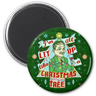 Imã Lit retro do homem do humor do bebendo do Natal