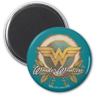 Imã Logotipo do esboço da folha da mulher maravilha