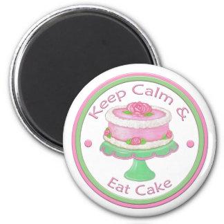 Imã Mantenha a calma & coma o ímã do bolo