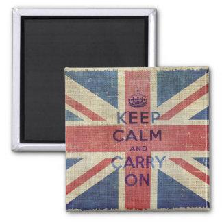 Imã Mantenha a calma e continue a bandeira BRITÂNICA