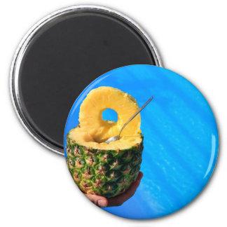 Imã Mão que guardara o abacaxi fresco acima da piscina