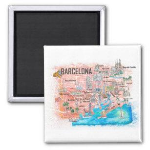 Imã Mapa de Viagem com Estradas Ilustrado em Barcelona
