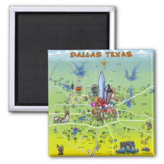 Imã Mapa dos desenhos animados de Dallas Texas