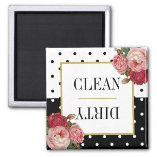 Imã Máquina de lavar louça suja limpa floral dos
