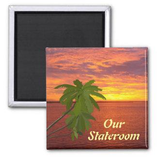 Imã Marcador quadrado da porta do por do sol tropical