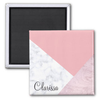 Imã mármore branco do rosa pastel do pintinho elegante